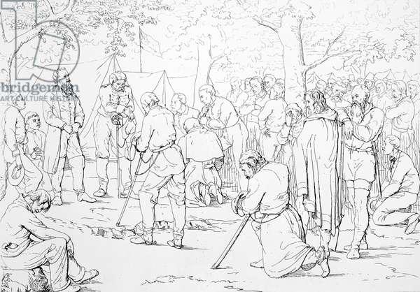 STONEWALL JACKSON (1824-1863). Thomas Jonathan 'Stonewall' Jackson. American Confederate general. Prayer in Stonewall Jackson's camp. Etching by Adalbert J. Volck, 1863.