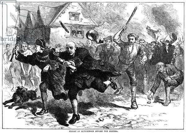 STAMP ACT, 1765 Lieutenant-Governor Thomas Hutchinson flees from rioters protesting the Stamp Act at Boston, August 1765. Wood engraving, English, 19th century.