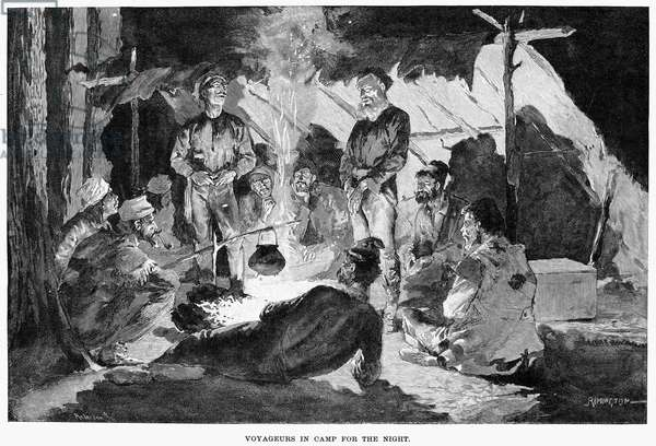CANADA: FUR TRADE 'Voyageurs in camp for the night.' Wood engraving, 1892, after Frederic Remington.