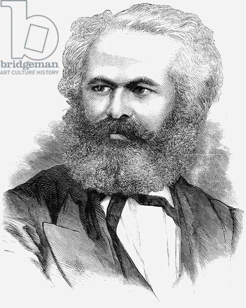 KARL MARX (1818-1883) German political philosopher. Wood engraving, 1871.