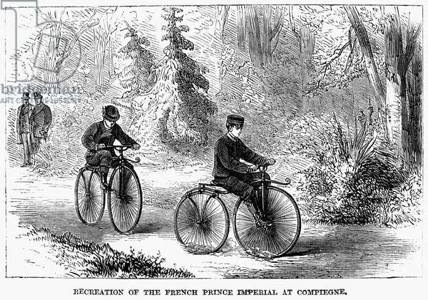 BICYCLES: FRANCE, 1868 Prince Napoleon of France (1856-1879) peddling a velocipede through the forest at Compiegne in 1868. Contemporary wood engraving.