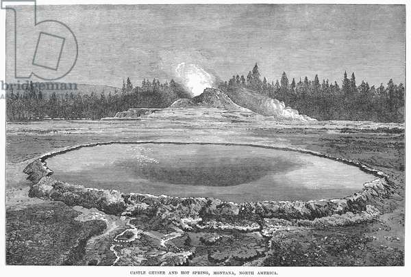 YELLOWSTONE PARK: GEYSER The Castle Geyser and hot spring in Yellowstone National Park, Montana. Wood engraving, English, 1873.