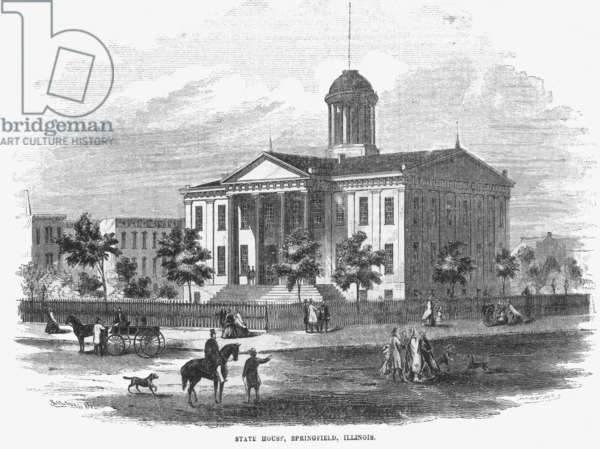 ILLINOIS STATE HOUSE, 1856 The State House at Springfield, Illinois: wood engraving from an American newspaper of 1856.