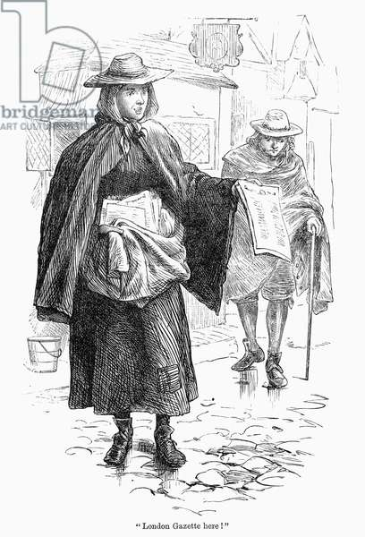 NEWSGIRL, 17th CENTURY A newsgirl selling the London Gazette in the streets of London, England, late 17th century. Wood engraving, English, late 19th century.