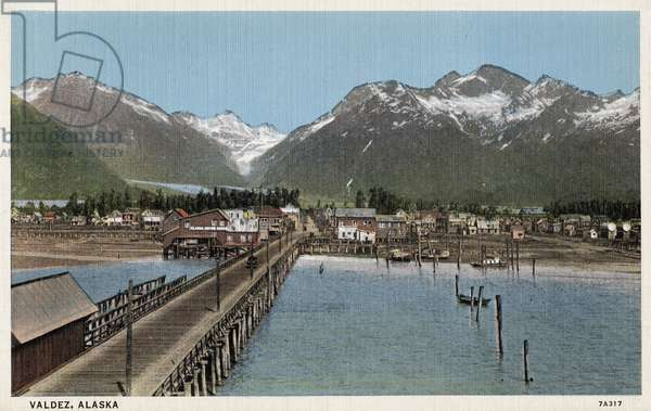 ALASKA: VALDEZ, c.1939 The harbor of Valdez, Alaska. Postcard, American, c.1939.