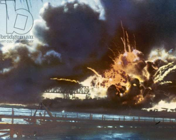 WORLD WAR II: PEARL HARBOR The USS Shaw exploding during the Japanese attack on the U.S. naval base at Pearl Harbor, Hawaii, 7 December 1941.