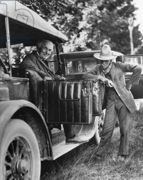 EDISON & FORD, 1923 American inventors Thomas Edison (left) and Henry Ford. Photographed on a camping trip, 1923.