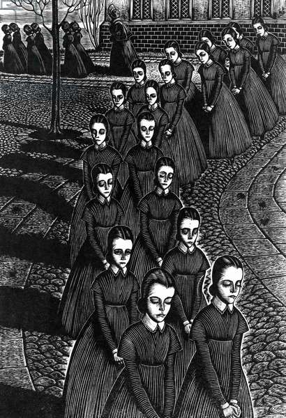 JANE EYRE Illustration for Charlotte Bronte's 'Jane Eyre.' Wood engraving by Fritz Eichenberg, c.1949.