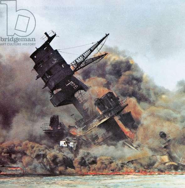 WORLD WAR II: PEARL HARBOR The USS Arizona burning during the Japanese attack on the U.S. naval base at Pearl Harbor, Hawaii, 7 December 1941.
