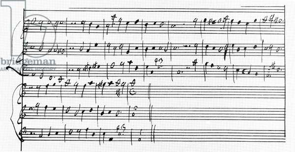 CLAUDIO MONTEVERDI  (1567-1643). Italian composer. Manuscript page, in his own hand, of his 'L'Incoronazione di Poppea,' 1642.