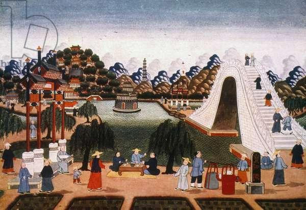 PEKING: SUMMER PALACE Summer Palace at Peking, China. Chinese painting, 19th century.