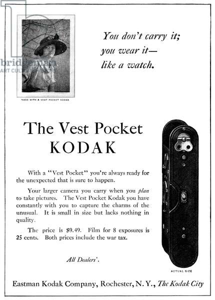 AD: KODAK, 1920 American advertisement for the Vest Pocket Kodak camera. Photograph, 1920.