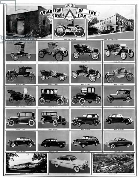 FORD AUTOMOBILES Evolution of the Ford Car. Models from 1896 to 1954. Ford Motor Company publicity photo.
