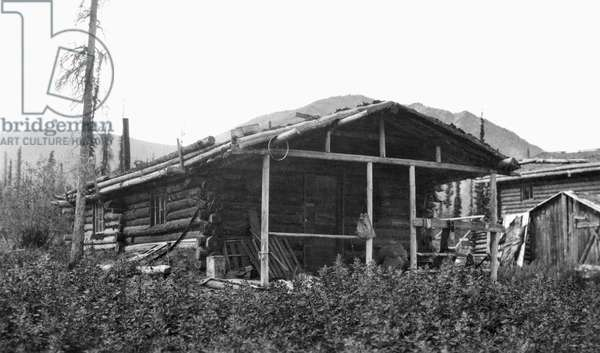 ALASKA: LOG CABIN, c.1916 A homesteader's rural log cabin in Alaska. Photograph, c.1916.