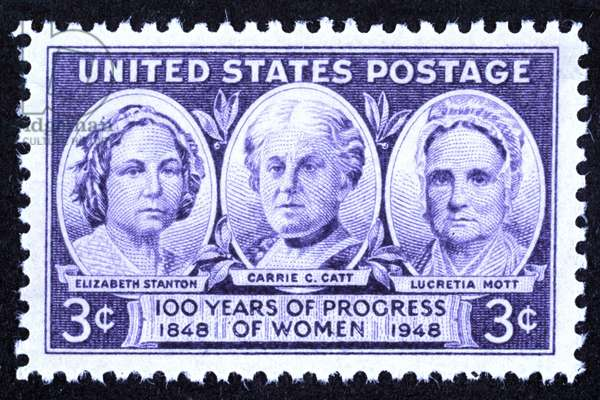 STANTON, CATT & MOTT Women's suffrage leaders Elizabeth Cady Stanton (1815-1902), Carrie Chapman Clinton Catt (1859-1947), and Lucretia Mott (1793-1880) on a United States postage stamp, 1948.