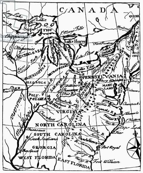 JEFFERSON: STATES, 1784 Map of Thomas Jefferson's proposed states, 1784.