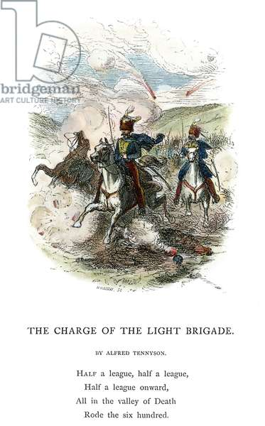 CRIMEAN WAR: LIGHT BRIGADE The Charge of the Light Brigade at Balaklava, 25 October 1854. Wood engraving from a 19th century edition of Lord Alfred Tennyson's poem, 'Charge of the Light Brigade.'