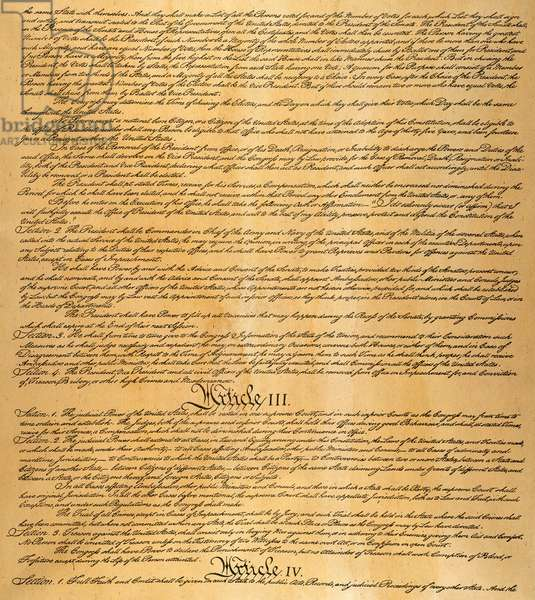 THE CONSTITUTION, 1787 Page three of the Constitution of the United States of America, 1787.