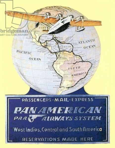 PAN AMERICAN AIRWAYS 1934 A Pan American Airways display card from 1934 featuring a Sikorsky S-42 airplane.
