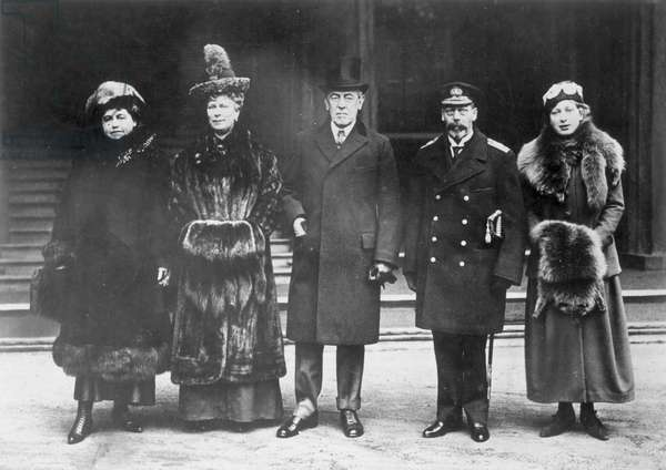 WOODROW WILSON (1856-1924) 28th President of the United States. From left: Mrs. Edith Bolling Wilson, Queen Mary of England, President Woodrow Wilson, King George V, and Princess Mary of England; photographed in Paris, January 1919.