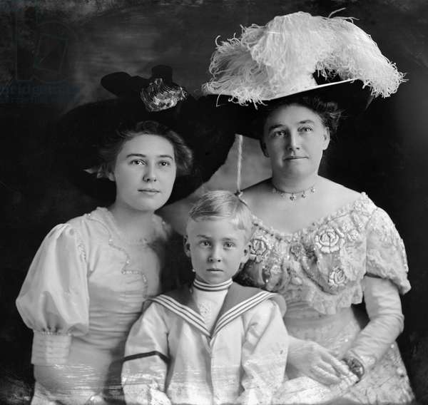 JOSEPHINE DIEBITSCH PEARY (1863-1955). American Arctic explorer and author, wife of Robert E. Peary. Photographed with her children Marie Ahnighito and Robert Edwin Peary, Jr, c.1905.