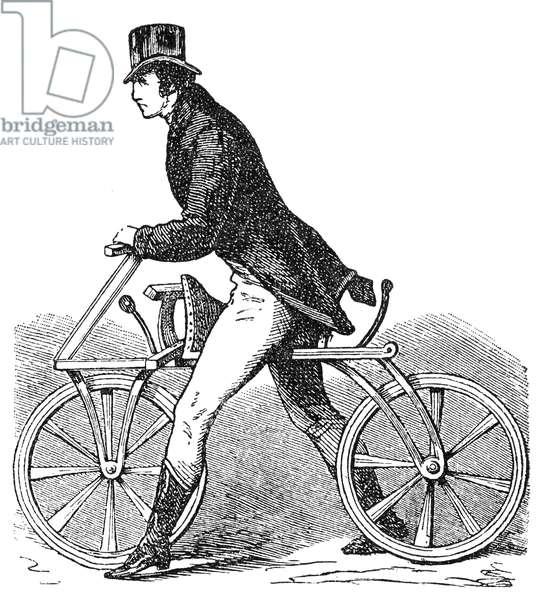 BICYCLES: DRAISINE, 1816 The Draisine, or 'Pedestrian Curricle', invented by Karl von Drais de Sauerbrun in 1816. Wood engraving, 19th century.
