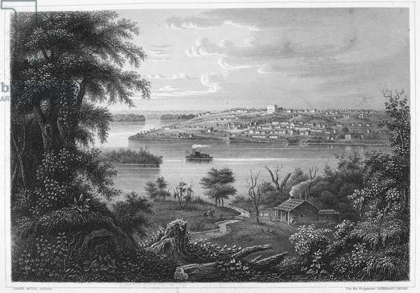 ILLINOIS: NAUVOO, c.1860 Nauvoo, Illinois, on the banks of the Mississippi River. Steel engraving, c.1860.