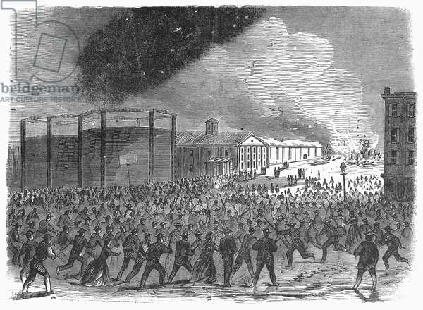 CIVIL WAR: DRAFT RIOTS Draft rioters destroying the Weehawken Ferry Terminal at the foot of 42nd Street during The New York City Draft Riots of July 13-16, 1863. Wood engraving from a contemporary German-language American newspaper.