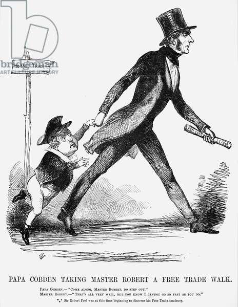 COBDEN AND PEEL: CARTOON 'Papa Cobden Taking Master Robert a Free Trade Walk.' Cartoon from 'Punch', 1845.