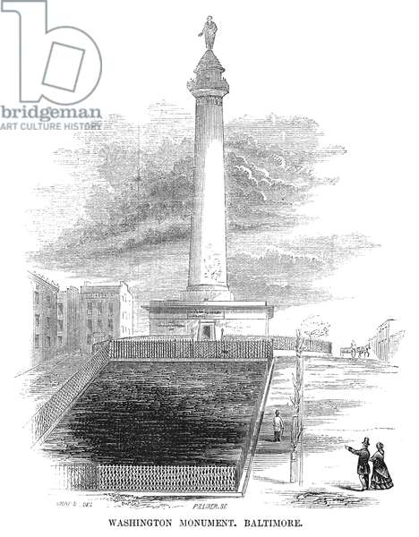 BALTIMORE: MONUMENT, 1853 The Washington Monument in Baltimore, Maryland. Engraving, American, 1853.