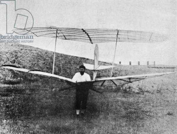 OTTO LILIENTHAL (1848-1896) German aeronautical engineer. The second of Otto Lilenthal's gliders. Photograph, c.1895.