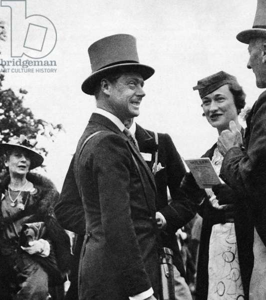 DUKE & DUCHESS OF WINDSOR The Duke of Windsor (then Prince of Wales) with Mrs. Wallis Simpson at the Royal Ascot race meeting. Photograph, 1935.