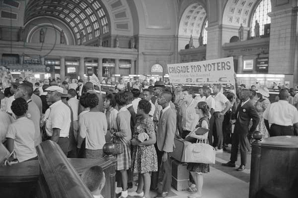 MARCH ON WASHINGTON, 1963 Marchers arriving at Union Station for the March on Washington. Photograph by Marion S. Trikosko, 28 August 1963.