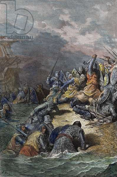 RICHARD THE LION-HEART At Acre in 1191. coloured  engraving after Gustave Doré.