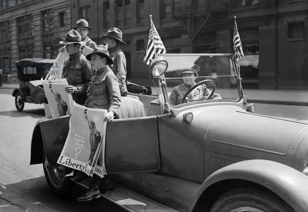 BOY SCOUTS, c.1917 Boy Scouts promoting Liberty bonds in New York City. Photograph, c.1917.