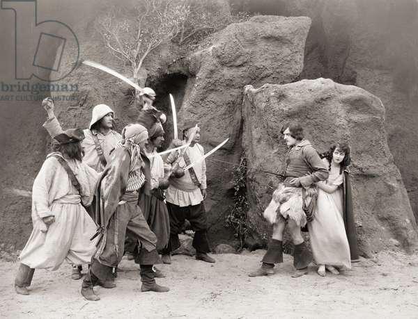 ROBINSON CRUSOE, 1922 Harry Myers in a film adapation of Daniel Defoe's novel.