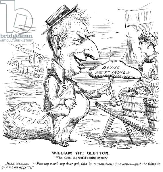 ALASKA PURCHASE CARTOON American newspaper cartoon, 1867, showing Secretary of State Willaim H. Seward, having negotiated the Alaska Purchase, turning his attention to the Danish West Indies (Virgin Islands) which, however, were not purchased by the United States until 1917.