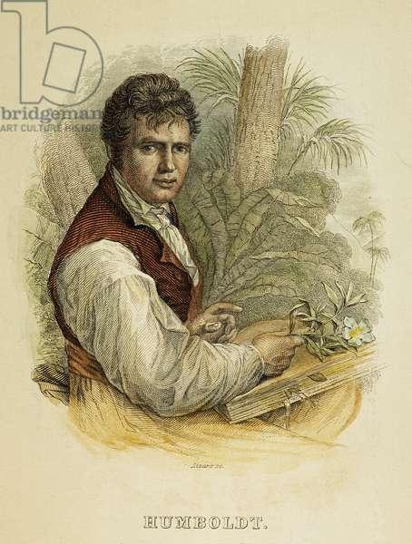 ALEXANDER von HUMBOLDT (1769-1859). German naturalist, traveler, and statesman. English engraving, 1843.