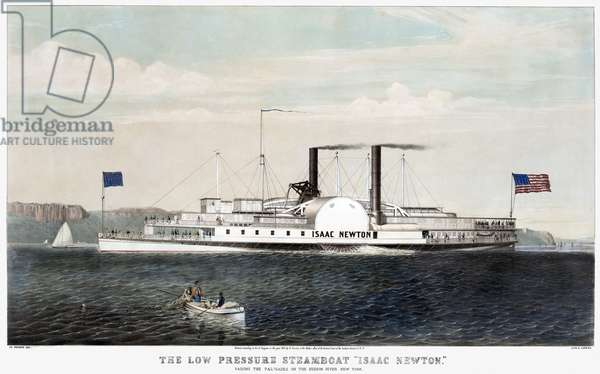 """HUDSON RIVER STEAMSHIP 'The low pressure steamboat """"Isaac Newton"""": passing the Palisades on the Hudson River, New York.' Lithograph, 1855, by Currier & Ives."""
