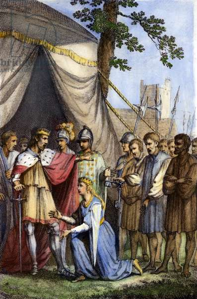 EDWARD III (1312-1377) King of England 1327-1377. Edward accepting the surrender of Calais in August 1347. coloured  engraving, English, 1776.