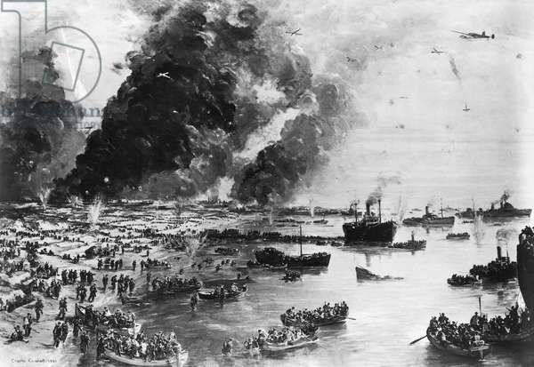 WORLD WAR II: DUNKIRK The evacuation of Dunkirk, France, June 1940. Painting by Charles Cundall, 1940.