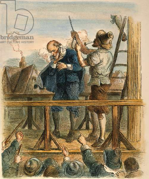 WITCH TRIAL: EXECUTION, 1692 The hanging of a 'witch' at Salem, Massachusetts, in 1692. coloured  engraving, 19th century.