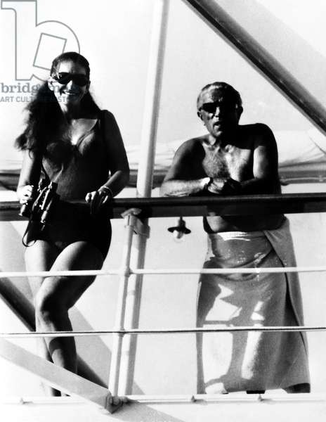 CALLAS & ONASSIS, 1967 Greek Opera singer Maria Callas and Greek shipping magnate Aristotle Onassis aboard one of Onassis' yachts at Nassau, Bahamas. Photographed 1967.