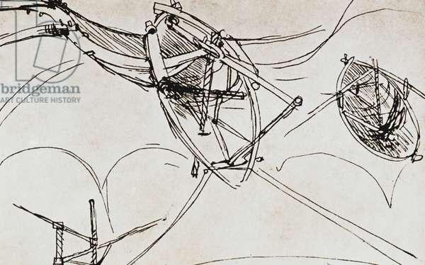 LEONARDO DA VINCI Plan for manually-operated flying machine.