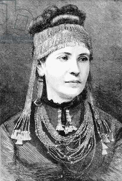 SOPHIA SCHLIEMANN (1852-1932). Née Engastromenos. Wife of German archaeologist Heinrich Schliemann. Wearing some of the jewelry discovered by her husband in Troy. Wood engraving, 1877.