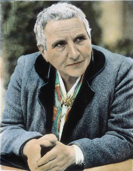 GERTRUDE STEIN (1874-1946) American writer. Oil over a photograph, 1942.