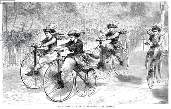 VELOCIPEDE RACE, 1868 Women competing in a velocipede race in Paris. Wood engraving, American, 1868.