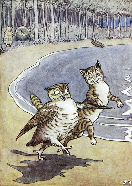 OWL AND THE PUSSYCAT Illustration by Leslie Brook (1862-1940) for Edward Lear's 'Nonsense Song, Stories, Botany, and Alphabets.'