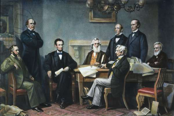 EMANCIPATION PROCLAMATION The first reading of the Emancipation Proclamation before Abraham Lincoln's cabinet in 1862; standing left to right: Salmon P. Chase, Caleb B. Smith, Montgomery Blair; seated left to right: Edwin M. Stanton, President Lincoln, Gideon Welles, William H. Seward, Edward Bates. Color engraving, 1866.