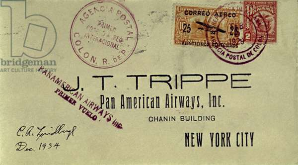 LINDBERGH COVER, 1928 Letter flown by Charles A. Lindbergh in 1928 from Panama to New York, and autographed by him in 1934.